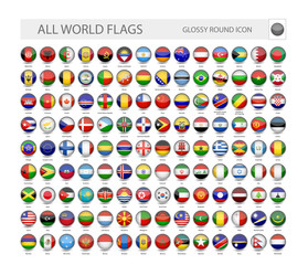 Round Glossy World Flags Vector Collection