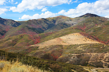 Fototapete - Mountains near Provo Utah with Fall Colors