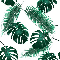 Tropical palm leaves. Jungle thickets. Seamless floral wallpaper background. illustration