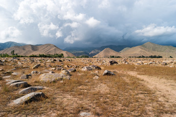 General view from the rocks. On some you can find the petroglyphs. Issyk-Kul, Cholpon-Ata, Kyrgystan