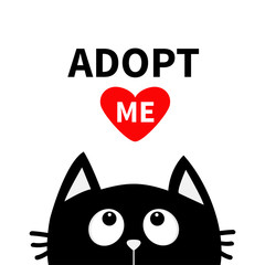 Adopt me. Dont buy. Red heart. Black cat face head silhouette looking up. Cute cartoon character. Help animal concept. Pet adoption. Flat design style. White background. Isolated.