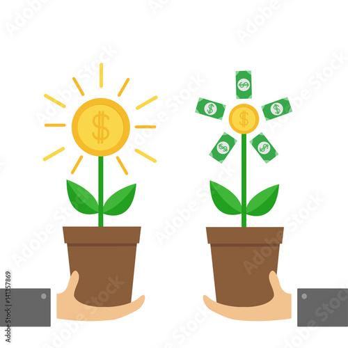 Two businessman hand holding growing paper money tree shining coin with dollar sign plant in - Successful flower growing business ...