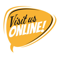 visit us online retro speech balloon