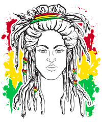 Portrait of rastaman. Jamaica theme. Reggae concept design. Tattoo art. Hand drawn grunge style art. Retro banner, card, t-shirt,  print, poster. Vintage colorful hand drawn vector illustration