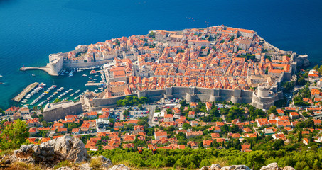 aerial view of Dubrovnik medieval Old town