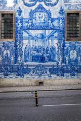 Azulejo tilework of Chapel of Souls (Capela das Almas) in Porto city, Portugal