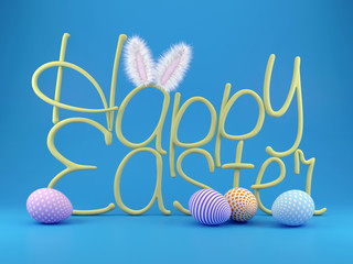 3D illustration with greetings of Happy Easter