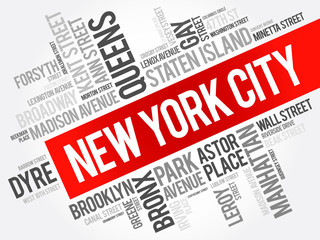 List of streets in New York City, word cloud collage, business and travel concept background