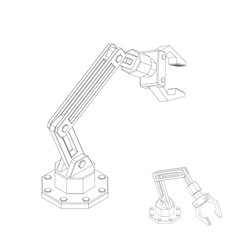 Robotic arm. Isolated on white background. Vector outline illustration.