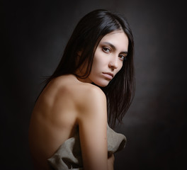 Portrait of beautiful sensual woman, close-up. Studio shot.