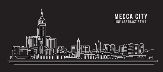 Cityscape Building Line art Vector Illustration design - Mecca city