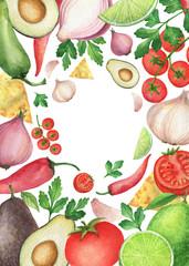 Watercolor traditional Mexican guacamole ingredients.