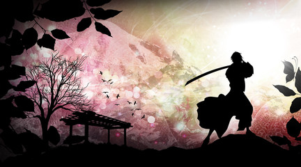 Ancient japanese samurai training silhouette art photo manipulation