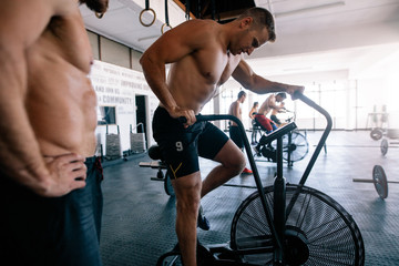 Indoor cycling during a gym training class