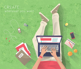 Concept of working at the park. Relaxation. Work wherever you want with pleasure. Creating ideas. E-learning. Freelance. Flat vector illustration.