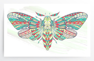 Death's-head hawkmoth. Patterned moth on the grunge background. Ornate butterfly. Papillon. Tattoo design. It may be used for design of a t-shirt, bag, postcard, a poster and so on.