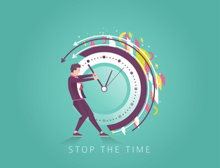 Businessman trying to stop the time.