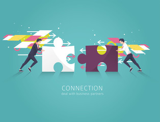 Business concept of solution, partnership, collaboration and support.