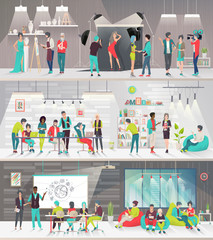 Concept of big art space. Art people work together in coworking place. Art office. Discussion, presentation, painting, design, library, photography, lounge, meeting. Vector flat illustration.