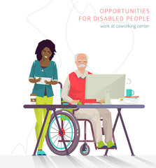 Concept of training courses for all people. Disabled man has opportunity to learn something new or to work via internet.  Vector flat illustration.
