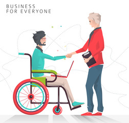 Concept of partnership between disabled person working with notebook and businessman.