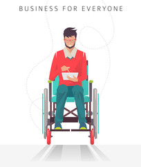 Concept of man with disabilities working with tablet. Communication over the network. Vector flat illustration