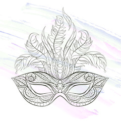Patterned mask on the grunge background. Mardi Gras festival. Tattoo design. It may be used for design of a t-shirt, bag, postcard, a poster and so on.
