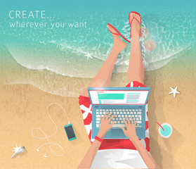 Concept of working at the sea. Relaxation. Work wherever you want with pleasure. Creating ideas. Freelance.