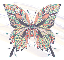 Patterned butterfly on the grunge background.