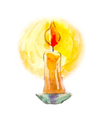 Candle in watercolor. Mystical image. Divination, the symbol of life.