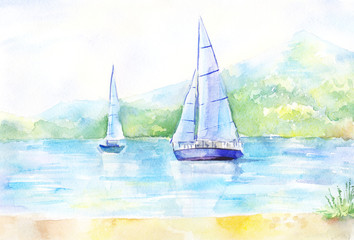 Light landscape watercolor. Picture with a sailboat on the river.