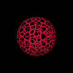 Abstract Sphere wireframe. Isolated on black background. 3d Vector illustration.