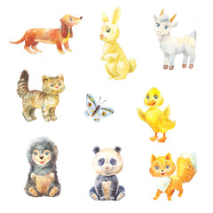 set of watercolor baby animals suit for children's book. Illustration of cute characters on white.