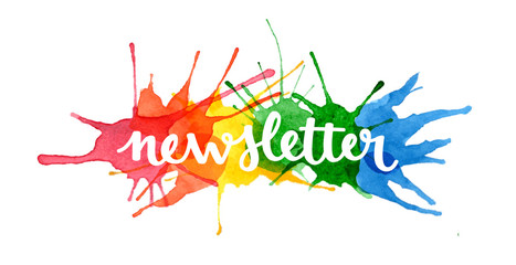 NEWSLETTER hand lettering icon on watercolour splashes background