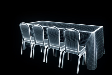 Conference Party Table with Chips in Hologram Wireframe Style. Nice 3D Rendering