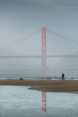 Mirror Golden Gate Bridge, California, Famous Place, International Landmark