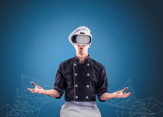 chef with virtual reality on a blue background