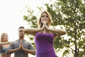 Male and female adults practicing yoga with hands together in park