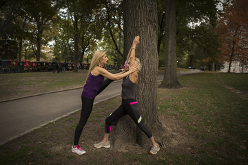 Two mature female friends training in park, stretching