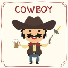 Foto op Textielframe Wild West Funny cowboy with mug beer in cartoon style. Insulated cowboy with mustache in cowboy hat.