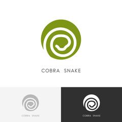 Cobra snake logo - serpent symbol. Green reptile icon.