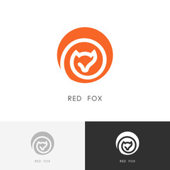 Red fox logo - vixen symbol. Colored wild animal icon.