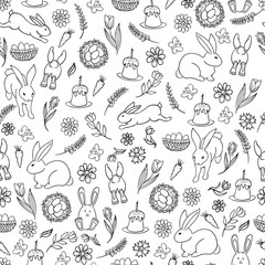 Seamless pattern of Easter hand drawn cute doodles illustration. Vector.