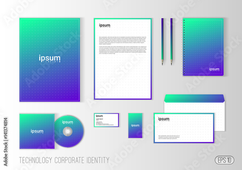 Corporate identity template for technology company, modern ...