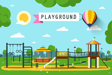 Children's Playground on City Park. Vector Flat Design Cartoon.