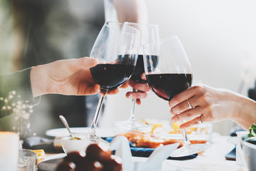 Happy friends cheering with glasses of red wine at home, enjoyment and celebrating concept, group of people making a toast and celebrating anniversary