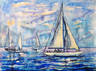 Watercolor painting of sailboats in the blue sea