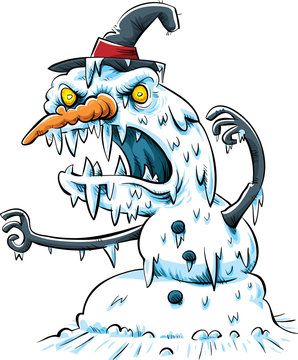 A scary, vicious cartoon snow monster in an aggressive pose.