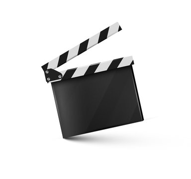 Realistic clapper.sinema.Board on a white background.film.time.vector illustration.