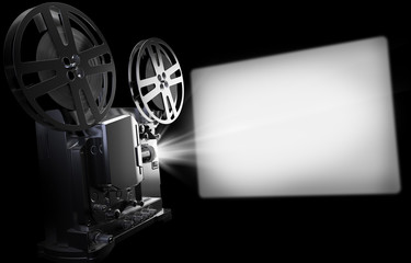 Old Cinema Projector and screen, Vintage Movie or Video Concept. 3d Rendering Illustration on black Background